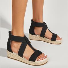 Women's PU Flat Heel Sandals Flats Platform Peep Toe With Zipper Hollow-out shoes