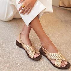 Frauen Kunstleder Flascher Absatz Sandalen Flache Schuhe Peep Toe mit Gummiband Schuhe