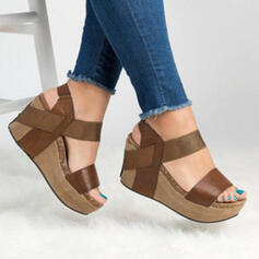 Women's PU Wedge Heel Sandals Wedges Peep Toe With Hollow-out shoes