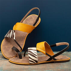 Women's Leatherette Flat Heel Sandals Peep Toe Toe Ring With Split Joint shoes