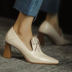 Women's PU Chunky Heel Pumps Pointed Toe With Lace-up Solid Color shoes