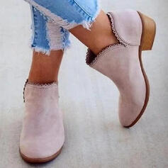 Women's PU Low Heel Ankle Boots Low Top With Solid Color shoes