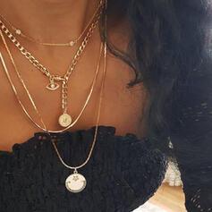 Jahrgang Geschichtet Legierung mit Münze Faux-Perlen Halsketten 4 STÜCK
