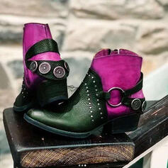 Women's PU Low Heel Ankle Boots Riding Boots Round Toe With Rivet Lace-up Splice Color shoes