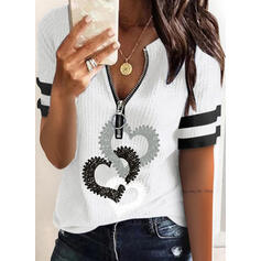 Print Striped Heart V-Neck Short Sleeves Casual Blouses