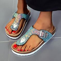 Women's PU Flat Heel Sandals Pumps Peep Toe Heels With Sparkling Glitter Buckle shoes