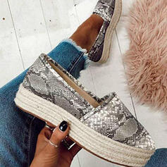 Women's Cloth Flat Heel Flats Low Top Round Toe Loafers Slip On With Animal Print shoes