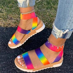 Women's PU Flat Heel Sandals Flats Peep Toe Slippers Round Toe With Splice Color shoes