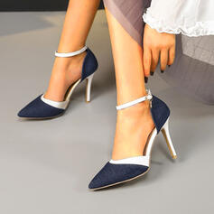 Women's Denim Stiletto Heel Pumps Closed Toe Pointed Toe With Buckle Splice Color shoes
