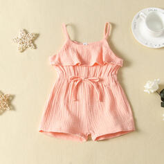 Toddler Girl Ruffle Solid Cotton Jumpsuit