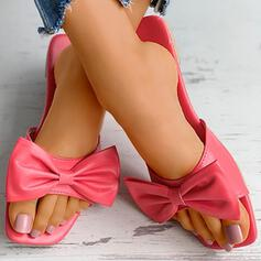 Women's Patent Leather PU Flat Heel Sandals Flats Closed Toe Slippers Square Toe With Bowknot Solid Color shoes