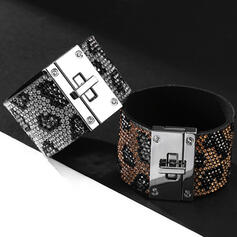 Fashionable Alloy Rhinestones Leather Rope With Rhinestone Women's Ladies' Bracelets