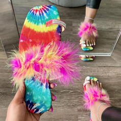 Women's Fabric Flat Heel Sandals Flats Peep Toe Slippers Toe Ring With Hollow-out Tassel shoes