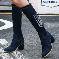 Women's Denim Chunky Heel Boots Knee High Boots Pointed Toe With Tassel Solid Color shoes
