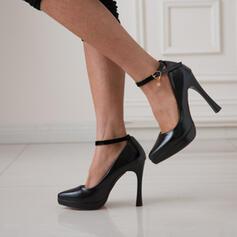 Frauen PU Stöckel Absatz Absatzschuhe Spitze mit Schnalle Schuhe