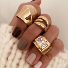 Boho Unendlichkeit Kupfer Glas mit Imitation Steine Ringe 3 PCS
