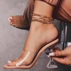 Women's PU Kitten Heel Sandals Pumps Peep Toe Slippers With Crystal Heel shoes