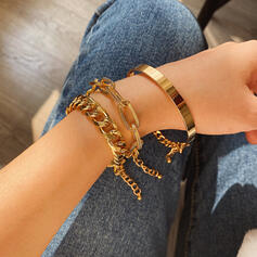 With Gold Plated Women's Ladies' Bracelets 3 PCS