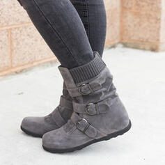 Women's Suede Flat Heel Mid-Calf Boots Snow Boots Round Toe With Buckle Zipper Solid Color shoes