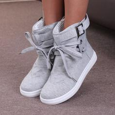 Women's PU Flat Heel Ankle Boots Round Toe With Lace-up Solid Color shoes