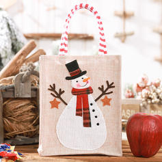 Weihnachten Fröhliche Weihnachten Schneemann Rentier Santa Geschenktasche Leinen Apple Taschen Candy Bags