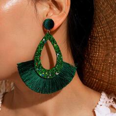 Shining Tassels Design Alloy Cotton String Women's Earrings 2 PCS