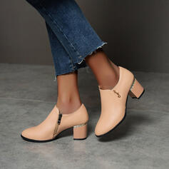 Frauen PU Stämmiger Absatz Absatzschuhe Round Toe mit Reißverschluss Schuhe