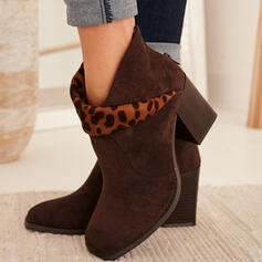 Women's Suede Chunky Heel Ankle Boots Square Toe With Animal Print Zipper shoes