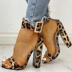 Women's Leatherette Chunky Heel Pumps Peep Toe With Animal Print Hollow-out shoes