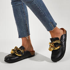 Women's Leatherette Flat Heel Flats Round Toe Loafers Loafers & Slip-Ons With Chain Solid Color shoes