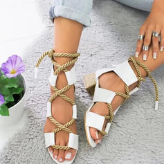 Women's PU Chunky Heel Peep Toe Slippers With Solid Color Crisscross shoes