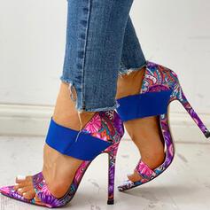Women's Cloth Stiletto Heel Pumps Peep Toe With Ribbon Tie Splice Color shoes