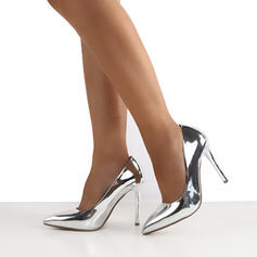 Frauen PU Stöckel Absatz Absatzschuhe Spitze mit Pelz Schuhe