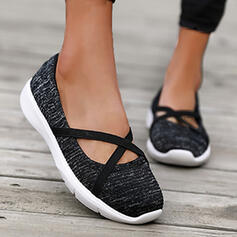 Women's Cloth Mesh Flat Heel Flats Round Toe Sneakers Slip On Loafers & Slip-Ons With Elastic Band Splice Color Crisscross shoes