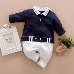 Baby Colourblock Button Print Cotton One-piece
