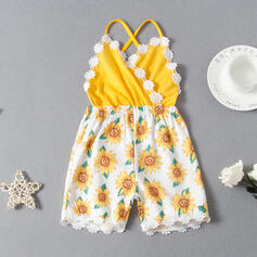 Toddler Girl Colourblock Floral Lace Print Jumpsuit