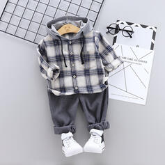 2-pieces Baby Girl Hooded Plaid Cotton Set