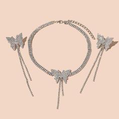 Glänzende Schmetterling Geformt Quasten Entwurf Legierung Strasssteine mit Schmetterling Strasssteine Schmuck Sets Halsketten Ohrringe 3 PCS
