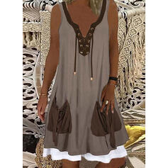 Color Block/Lace-up Sleeveless Shift Knee Length Casual Dresses