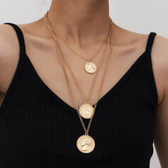 Fashionable Sexy Vintage Classic Layered Alloy With Gold Plated Women's Ladies' Necklaces 3 PCS