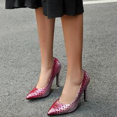 Frauen PU Stöckel Absatz Absatzschuhe Spitze mit Spleißfarbe Punkt Schuhe