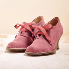 Frauen PU Stämmiger Absatz Absatzschuhe Spitze mit Zuschnüren Schuhe