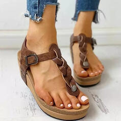 Women's Microfiber Wedge Heel Sandals Peep Toe With Hollow-out Braided Strap shoes