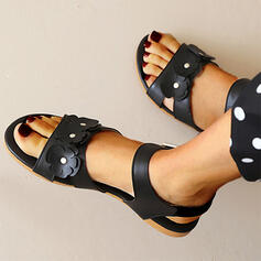 Women's PU Flat Heel Sandals Peep Toe Round Toe With Applique Solid Color shoes