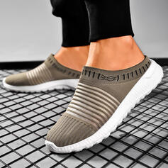 Women's Cloth Mesh Flat Heel Flats Round Toe Sneakers Slip On Loafers & Slip-Ons With Solid Color Stripe shoes