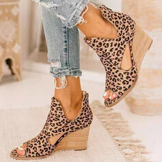 Women's Leatherette Wedge Heel Sandals Peep Toe Ankle Boots With Animal Print Hollow-out shoes