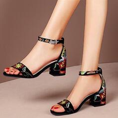Women's PU Chunky Heel Sandals Pumps Peep Toe Heels With Splice Color shoes