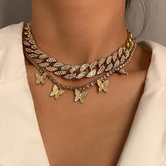 Fashionable Vintage Alloy With Rhinestone Gold Plated Butterfly Women's Ladies' Necklaces 2 PCS
