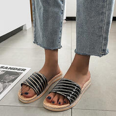 Women's PU Flat Heel Sandals Peep Toe Slippers Round Toe With Striped shoes
