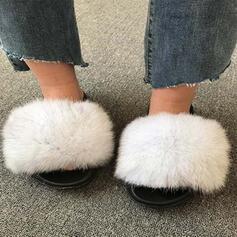 Frauen Kunstpelz Flascher Absatz Sandalen Peep Toe mit Pelz Schuhe
